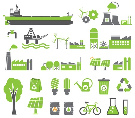 electricity supply: Green energy symbols, ecology concept, factory