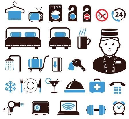 hotel reception: Hotel Icons gesetzt Illustration
