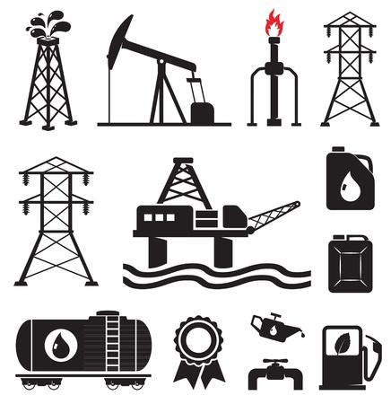 refinaria: Oil, gas, electricity symbols Ilustração