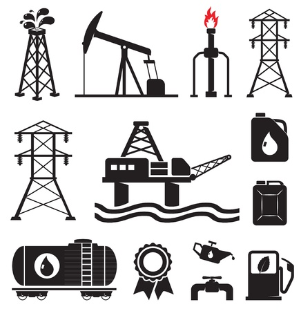 gas refinery: Oil, gas, electricity symbols Illustration
