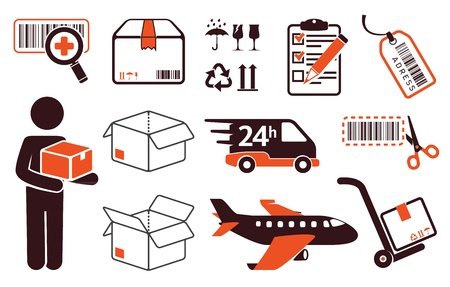 packaging move: Mail delivery, transportation symbols, boxes