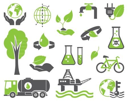 contaminacion ambiental: Símbolos verdes del planeta, el concepto de la ecología Vectores