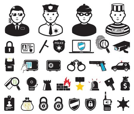 犯罪の世界シンボルを設定します。  イラスト・ベクター素材