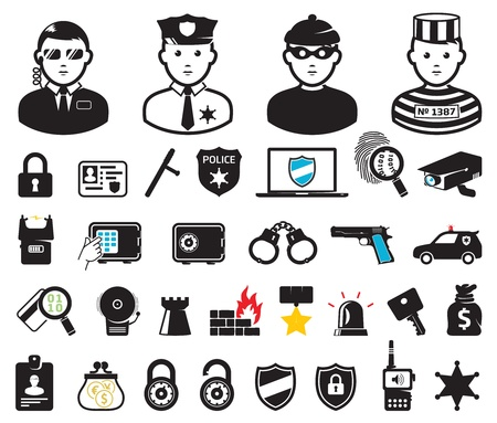 security laws: Crime world symbols, set