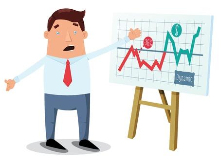 superacion personal: Empleado de oficina que muestra el gr�fico tabla en la pizarra