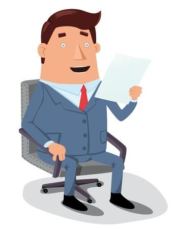 Man reading document ,cartoon illustration Illustration