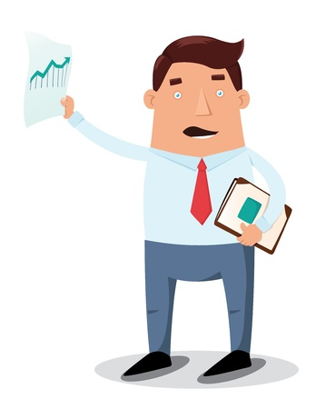 Office worker showing chart graph Illustration