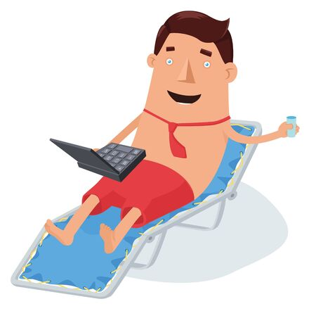 Man in necktie and shorts laying on sunbed with notebook