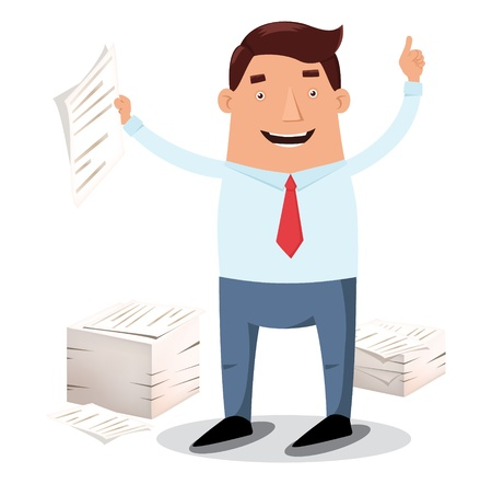 Happy office worker in necktie, piles of papers