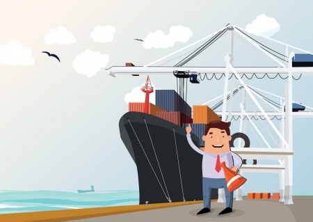 Cargo ship in port, figure of man in front Illustration