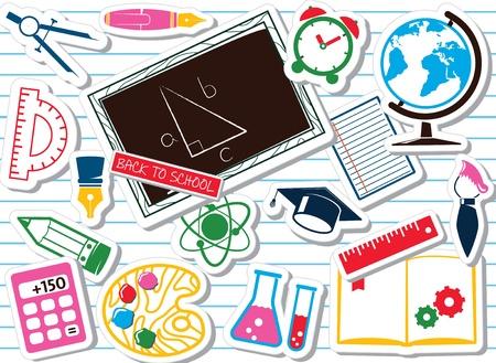fournitures scolaires: Fournitures scolaires, ensemble color� Illustration