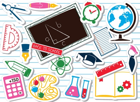 School supplies, colorful set Vector