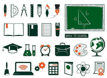 mochila escolar: Escuelas e institutos iconos Vectores