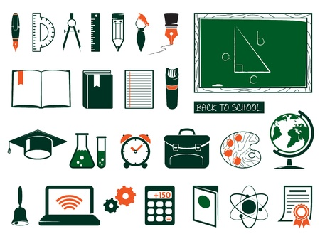 back to school supplies: School and college icons