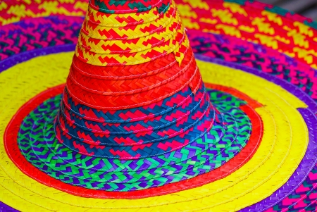 spanish ethnicity: Colourful straw sombrero