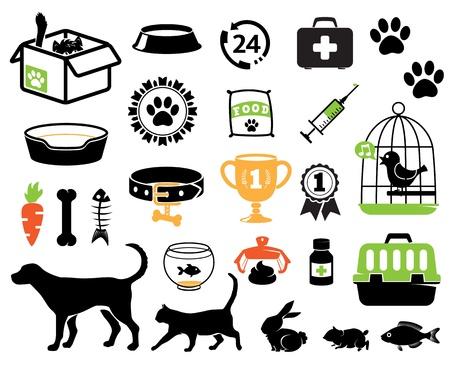 Iconos colección de mascotas Ilustración de vector