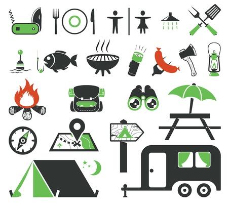 アイコンのコレクションのキャンプ  イラスト・ベクター素材