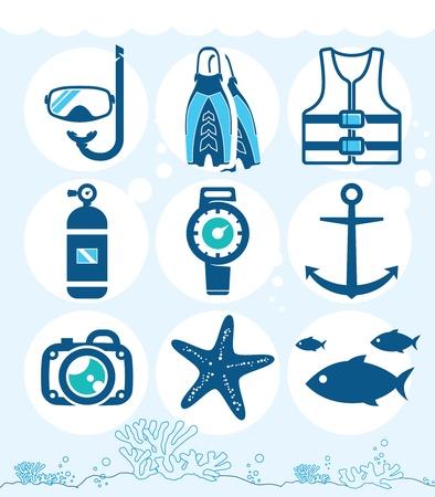 snorkel: Onderwater pictogrammen collectie op de koraal achtergrond Stock Illustratie