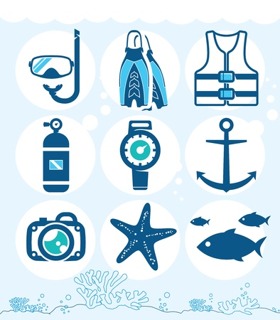 underwater diving: Underwater icons collection on the coral background Illustration