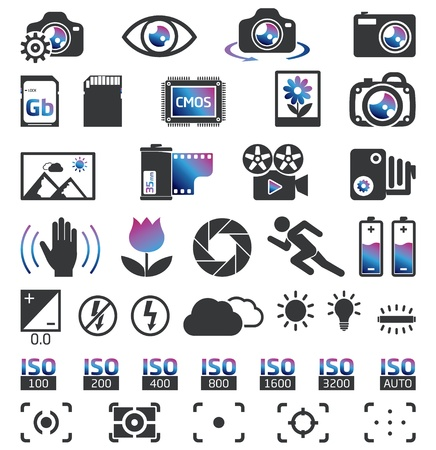 Camera Display Screen symbols Vector