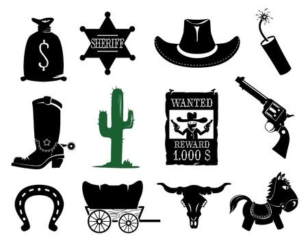 carreta madera: Wild West colección de iconos Vectores