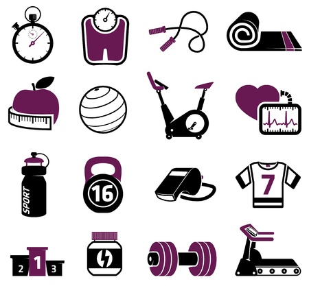 sport mats: Fitness equipment collection Illustration