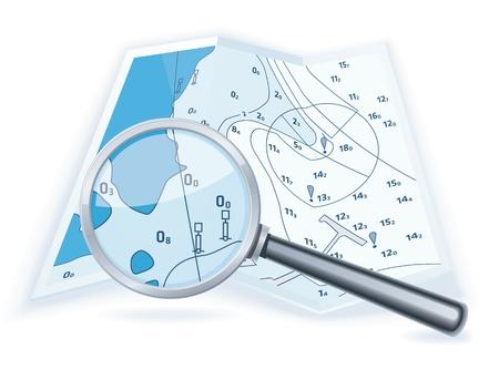 географический: Морские карты с лупой Иллюстрация
