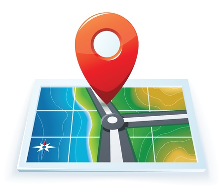 Modern gps map icon Çizim