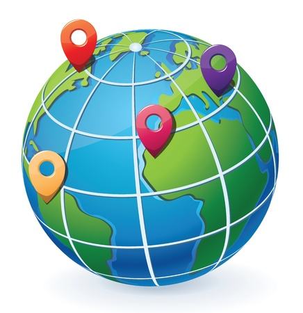 Globe with location pointers