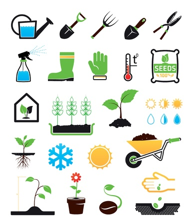cultivating: Gardening icons set