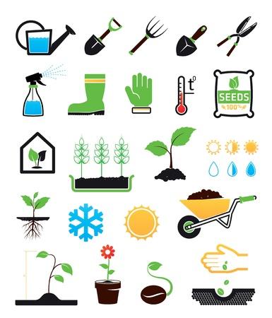 Icone di giardinaggio set
