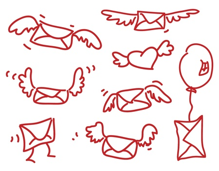 air mail: Flying mail - simple drawing of winged envelopes Illustration
