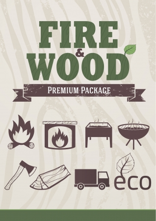 Fire and wood concept, retro-styled icons, design elements