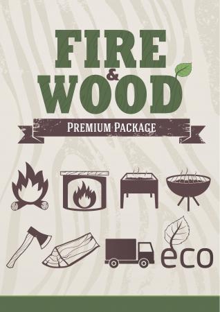 Fuego y el concepto de madera, de estilo retro iconos, elementos de diseño Ilustración de vector