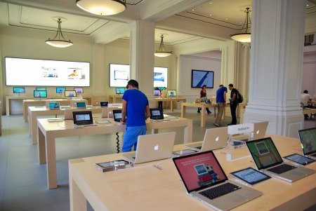 AMSTERDAM, NETHERLANDS - JUNE 28: Inside the Apple Store on June 28, 2012 in Amsterdam, Netherland. The new Apple Store in Amsterdam opened March 5, 2012, the first official one in the Netherlands