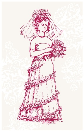 Drawing of retro-styled bride with rose bouquet Stock Vector - 15630848