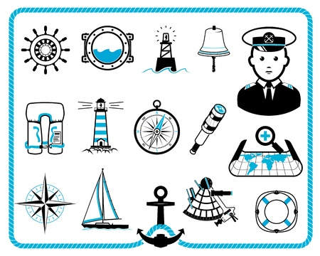 Nautical design frame and icon collection, captain character Vector