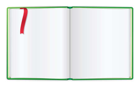 Opened book with blank pages and bookmark Stock Vector - 15630825