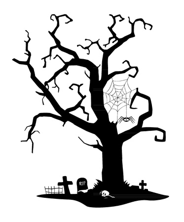 tombstone: Spooky black silhouette of tree near cemetery
