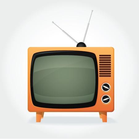 ver tv: CuTe televisor retro, tapa naranja y una antena pequeña