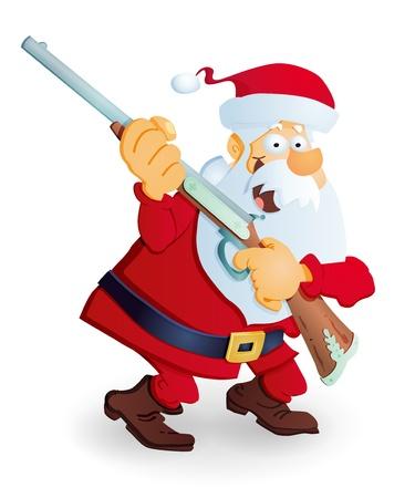 hunter man: Santa Claus with rifle