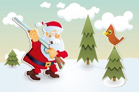 Santa Claus with rifle, hunting. Christmas card.