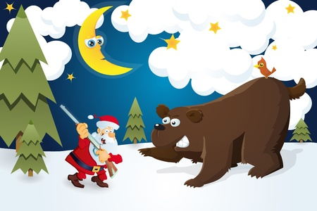 Santa Claus with rifle meets bear. Christmas card. Vector