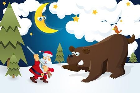 Santa Claus with rifle meets bear. Christmas card. Stock Vector - 16385077