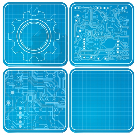 Circuit board design. Technology theme. iOS style Illustration