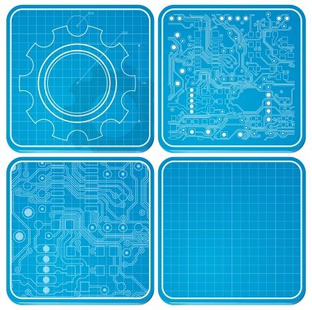 ios: Circuit planche � dessin. Th�me de la technologie. le style iOS Illustration