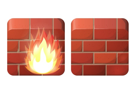 Brick wall. Firewall.  iOS style Stock Vector - 17571321