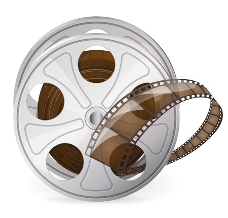 movie film reel: Vintage reel of movie tape
