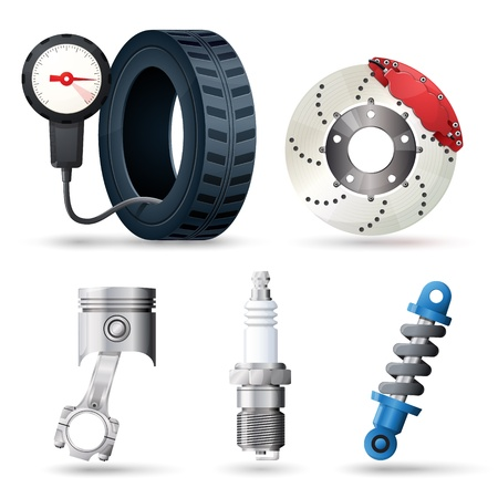 tire shop: Car spare parts, mechanic and service tools Illustration