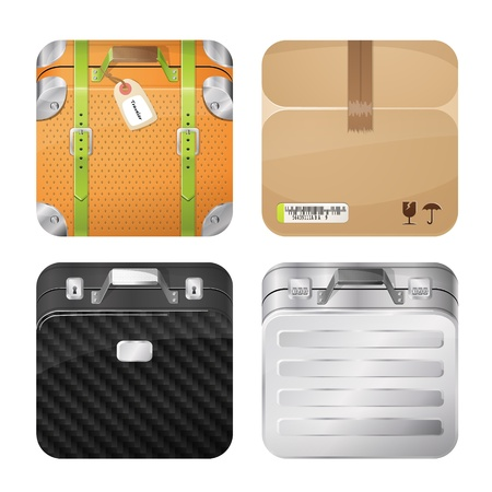 Cases and parcel icons, iOS style icons Vector